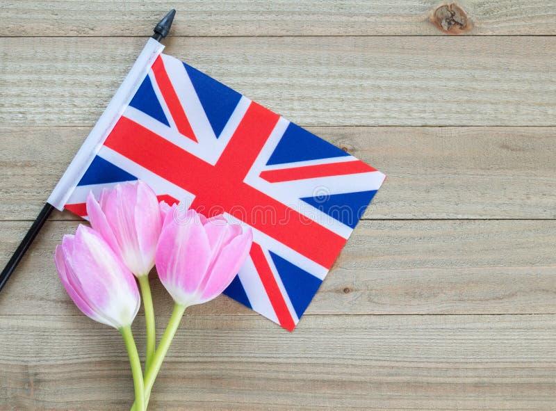 Μικρή βρετανική σημαία με τις ρόδινες τουλίπες σε ένα ξύλινο υπόβαθρο στοκ φωτογραφία