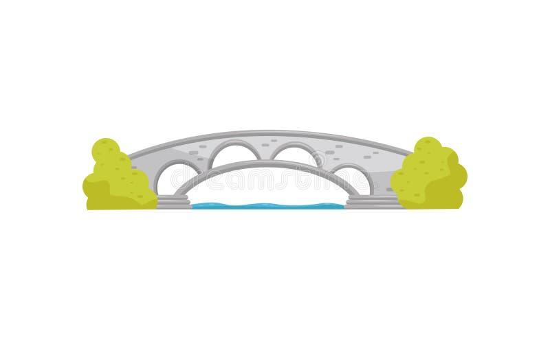 Μικρή γέφυρα αψίδων πετρών και οι πράσινοι Μπους Διάβαση πεζών πέρα από τον ποταμό Στοιχείο τοπίων για το πάρκο πόλεων Επίπεδο δι απεικόνιση αποθεμάτων