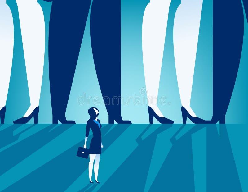 Μικρή επιχειρηματίας που στέκεται κάτω από τους μεγάλους επιχειρηματίες Concep διανυσματική απεικόνιση
