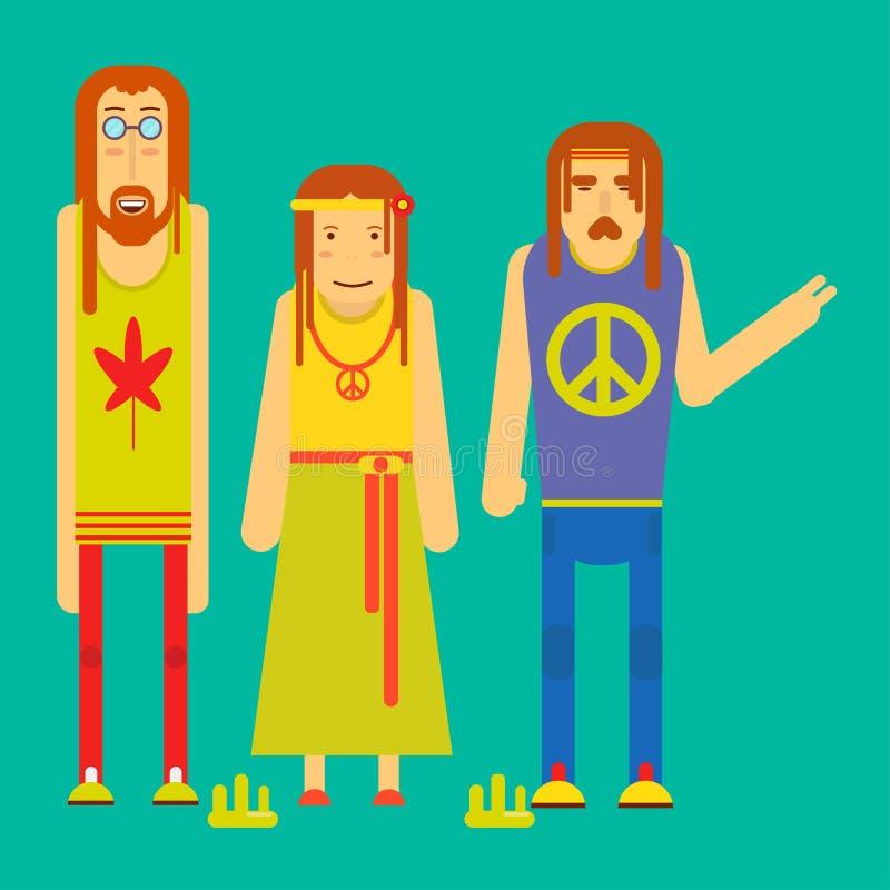 Μικρή εταιρία της αστείας απεικόνισης χαρακτήρων χίπηδων κινούμενων σχεδίων ελεύθερη απεικόνιση δικαιώματος