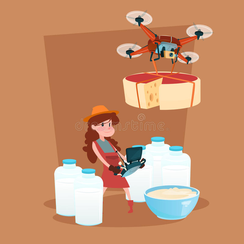 Μικρή κοριτσιών φρέσκια καλλιέργεια Eco γαλακτοκομικών προϊόντων γάλακτος παράδοσης κηφήνων ελεγκτών λαβής μακρινή διανυσματική απεικόνιση