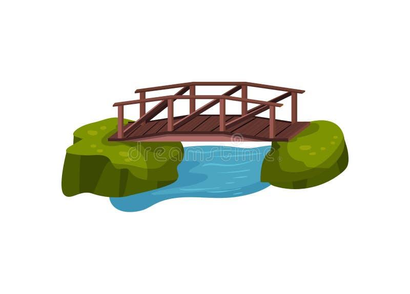 Μικρή ξύλινη γέφυρα πέρα από την μπλε λίμνη ή τον ποταμό Υπαίθριο αντικείμενο για το πάρκο πόλεων Σχέδιο τοπίων κινούμενων σχεδίω διανυσματική απεικόνιση
