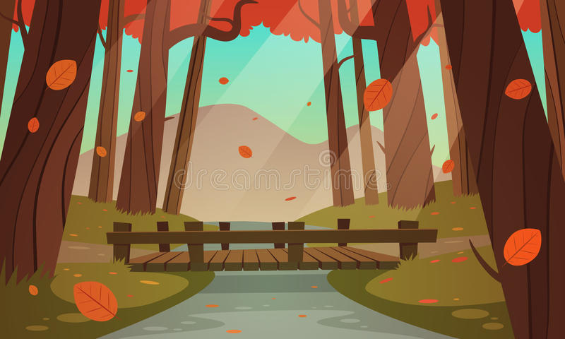 Μικρή ξύλινη γέφυρα στα ξύλα ελεύθερη απεικόνιση δικαιώματος