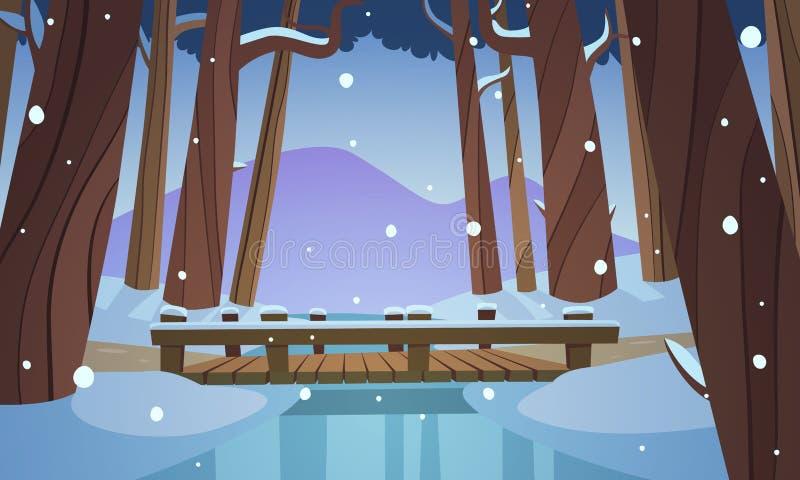 Μικρή ξύλινη γέφυρα στα ξύλα διανυσματική απεικόνιση