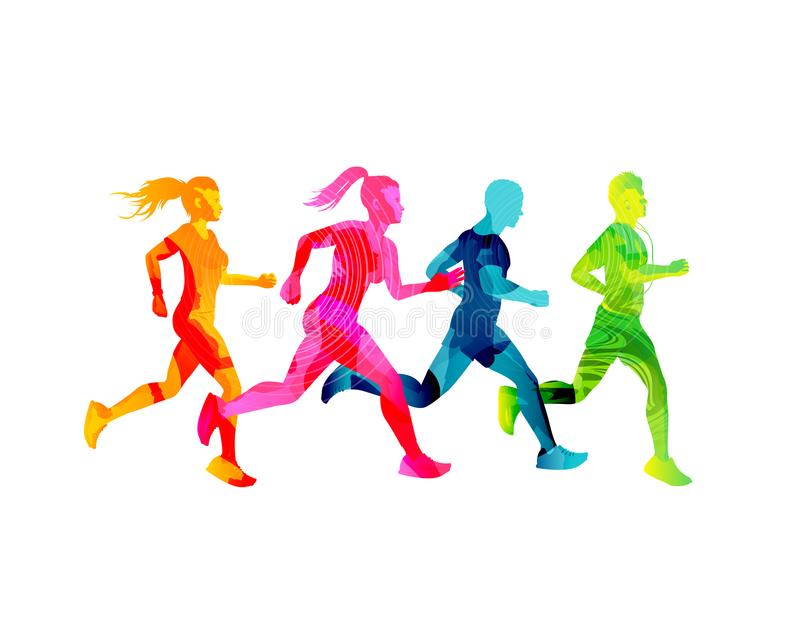 Μικρή ομάδα τρέχοντας ανδρών και γυναικών ελεύθερη απεικόνιση δικαιώματος