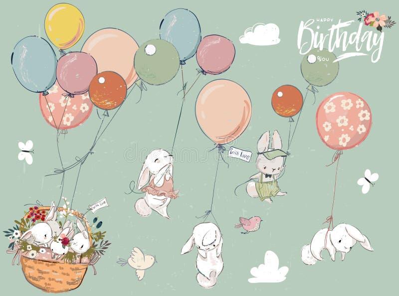 Μικρή συλλογή λαγών με το μπαλόνι ελεύθερη απεικόνιση δικαιώματος