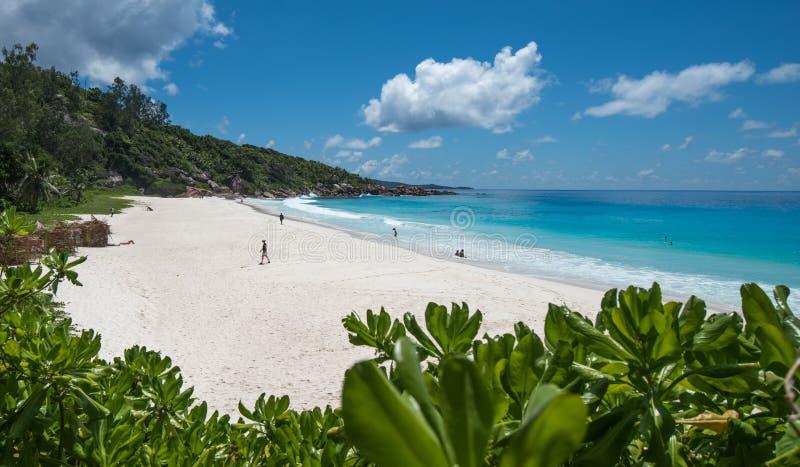 Μικρή τροπική παραλία Anse, νησί Λα Digue, Σεϋχέλλες στοκ φωτογραφία