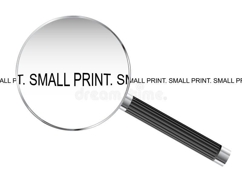 Μικρή τυπωμένη ύλη που ενισχύει - γυαλί απεικόνιση αποθεμάτων