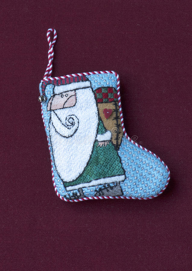 Μικρή needlepoint γυναικεία κάλτσα Χριστουγέννων Santa στοκ φωτογραφία