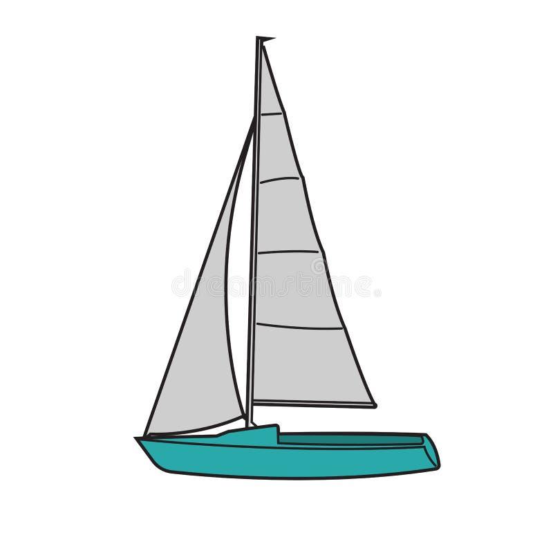 Μικρή sailboat διανυσματική απεικόνιση Μικρή βάρκα με το πανί ελεύθερη απεικόνιση δικαιώματος