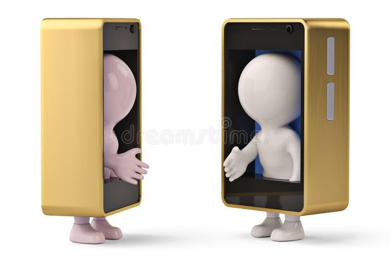 2 μικροί ανθρώπινοι χαρακτήρες στο κινητό τηλέφωνο στα χέρια κουνημάτων τρισδιάστατο illu ελεύθερη απεικόνιση δικαιώματος