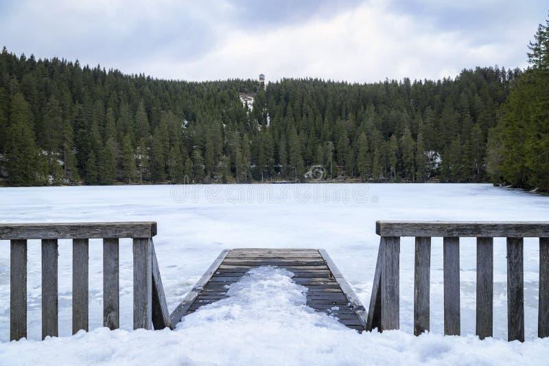 Μικροί ξύλινοι αποβάθρα και φράκτης πέρα από μια παγωμένη λίμνη στοκ εικόνα