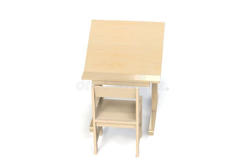 Μικροί ξύλινοι πίνακας και καρέκλα παιδιών ` s ελεύθερη απεικόνιση δικαιώματος