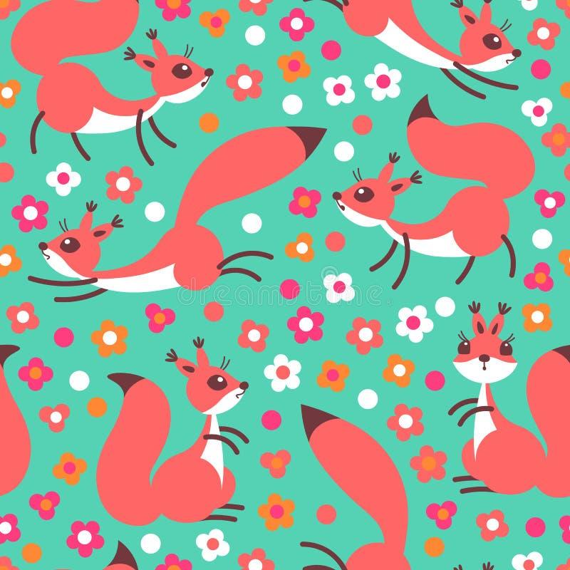 Μικροί χαριτωμένοι σκίουροι στο λιβάδι λουλουδιών Άνευ ραφής σχέδιο άνοιξης ή καλοκαιριού για το τύλιγμα δώρων, ταπετσαρία, δωμάτ ελεύθερη απεικόνιση δικαιώματος