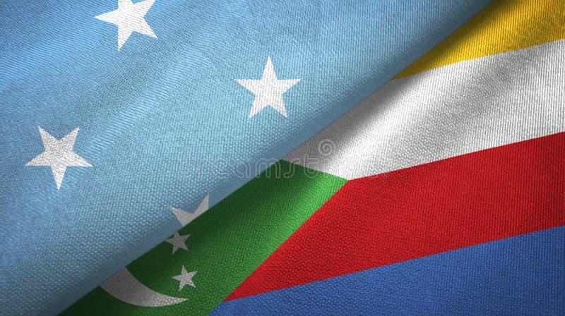 Μικρονησία και Κομόρες δύο υφαντικό ύφασμα σημαιών, σύσταση υφάσματος διανυσματική απεικόνιση