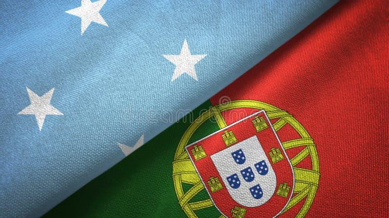 Μικρονησία και Πορτογαλία δύο υφαντικό ύφασμα σημαιών, σύσταση υφάσματος ελεύθερη απεικόνιση δικαιώματος