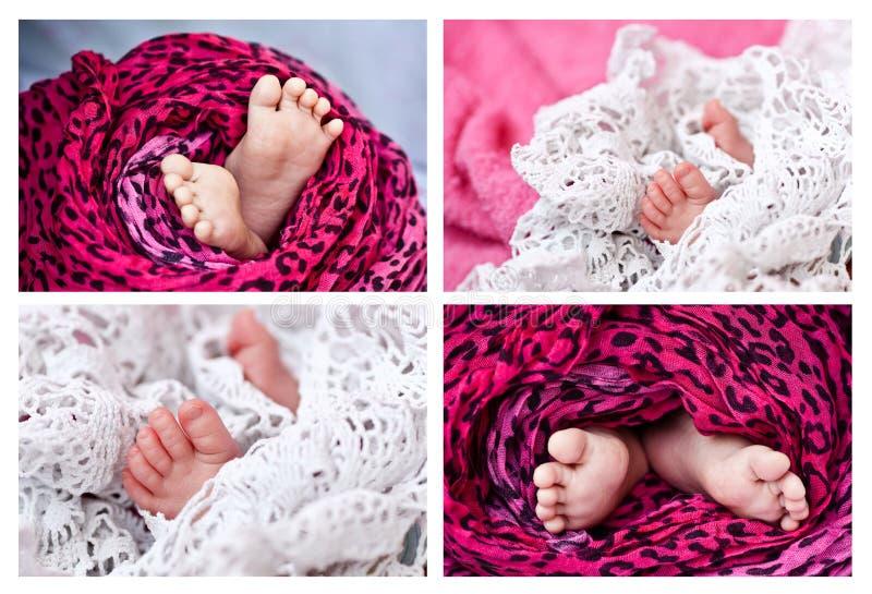 Μικροσκοπικά πόδια ενός νεογέννητου μωρού στοκ εικόνα