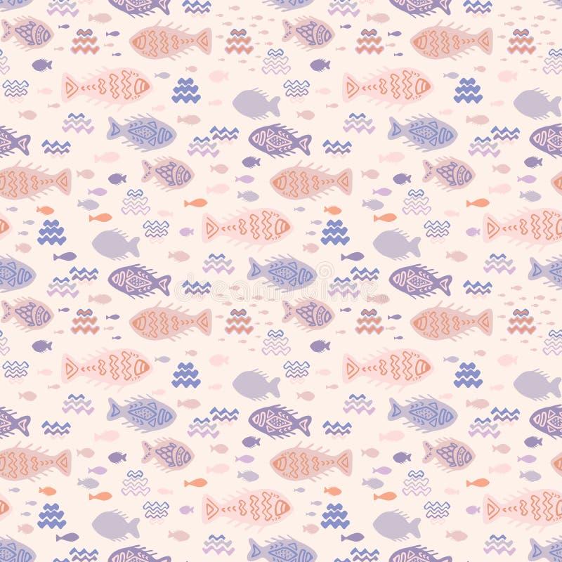 Μικροσκοπικά ψάρια Doodles κρητιδογραφιών απεικόνιση αποθεμάτων