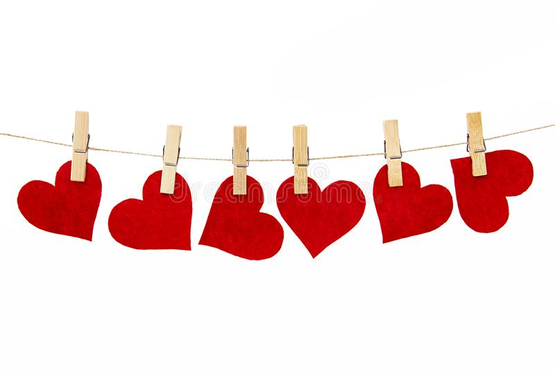 Μικροσκοπικές κόκκινες καρδιές που απομονώνονται στο άσπρο υπόβαθρο στοκ φωτογραφία με δικαίωμα ελεύθερης χρήσης