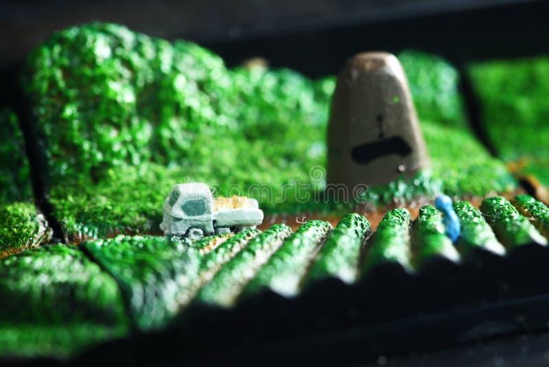 Μικροσκοπική ιαπωνική πρότυπη σκηνή αγροτών στοκ φωτογραφία