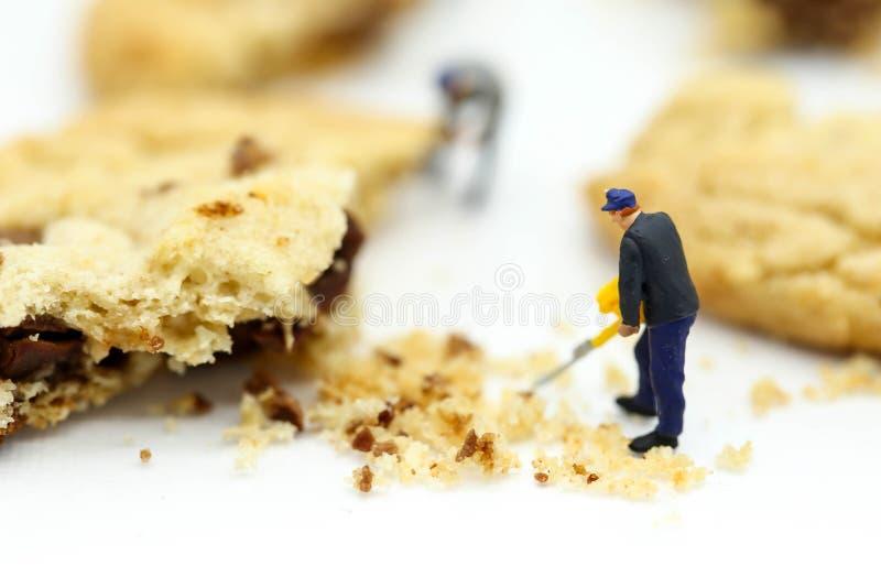 Μικροσκοπικοί άνθρωποι: οι εργαζόμενοι ομάδων ήταν συντριμμένα μπισκότα στοκ φωτογραφία με δικαίωμα ελεύθερης χρήσης