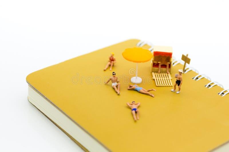 Μικροσκοπικοί άνθρωποι: Οι ταξιδιώτες βρίσκονται κάνουν ηλιοθεραπεία στο βιβλίο καφετί Η χρήση εικόνας για τις διακοπές, χαλαρώνε στοκ φωτογραφίες με δικαίωμα ελεύθερης χρήσης