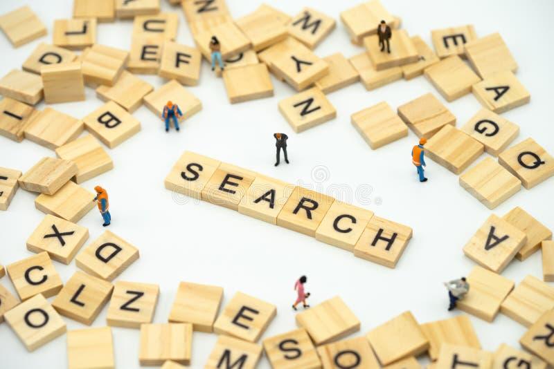 Μικροσκοπικοί επιχειρηματίες ανθρώπων που στέκονται με την ξύλινη ΑΝΑΖΗΤΗΣΗ λέξης Βρείτε κάτι η απάντηση στη λύση χρησιμοποίηση ω στοκ φωτογραφίες