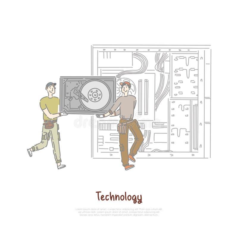 Μικροσκοπικοί εργαζόμενοι που κρατούν το μέρος υλικού, αντικατάσταση HDD, κατάστημα επισκευής τεχνολογίας, έμβλημα υπηρεσιών συντ διανυσματική απεικόνιση