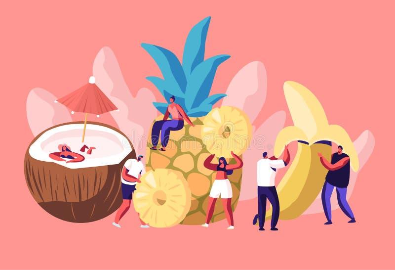 Μικροσκοπικοί χαρακτήρες ανδρών και γυναικών και τεράστια ώριμη καρύδα φρούτων, ανανάς, μπανάνα, χορτοφάγος διατροφή, υγιή τρόφιμ ελεύθερη απεικόνιση δικαιώματος
