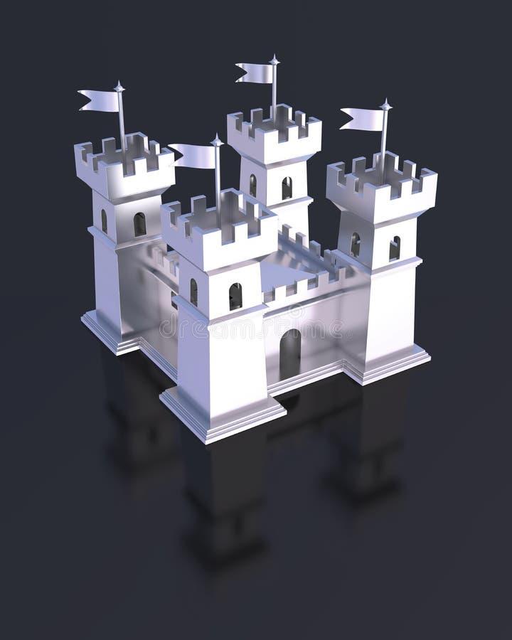 Μικροσκοπικό ασημένιο κάστρο φρουρίων διανυσματική απεικόνιση