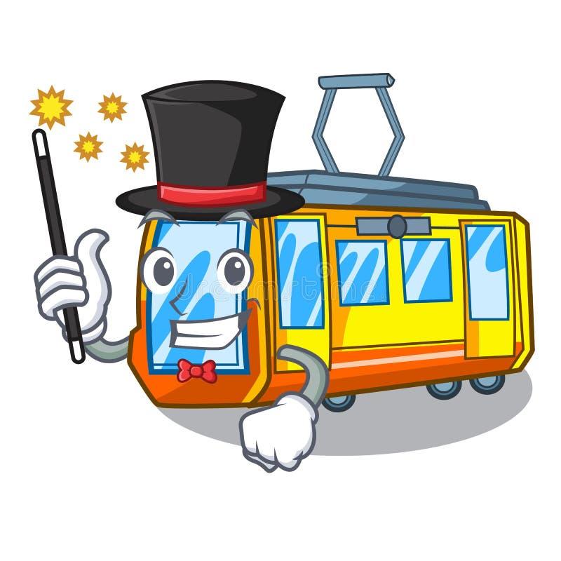 Μικροσκοπικό ηλεκτρικό τραίνο μάγων στη μορφή κινούμενων σχεδίων ελεύθερη απεικόνιση δικαιώματος