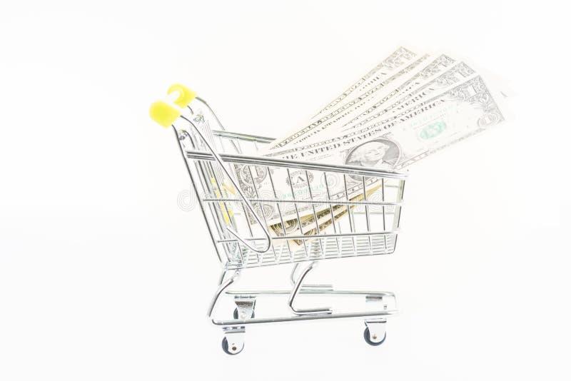 Download Μικροσκοπικό κάρρο αγορών με τα αμερικανικά τραπεζογραμμάτια Στοκ Εικόνες - εικόνα από νόμισμα, οικονομία: 62712232