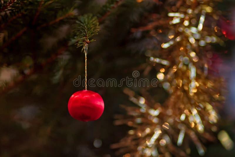 Μικροσκοπικό μπιχλιμπίδι σε ένα χριστουγεννιάτικο δέντρο στοκ εικόνες