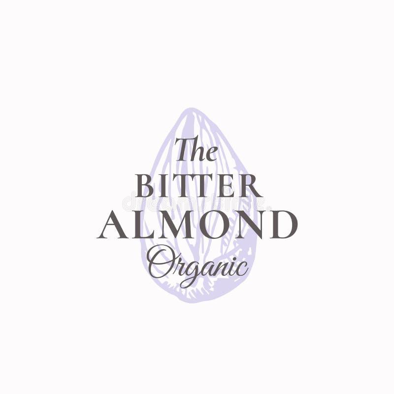 Μικροσκοπικό πικρό αφηρημένο διανυσματικό σημάδι αμυγδάλων, σύμβολο ή πρότυπο λογότυπων Κομψό καρύδι Sillhouette αμυγδάλων με την απεικόνιση αποθεμάτων