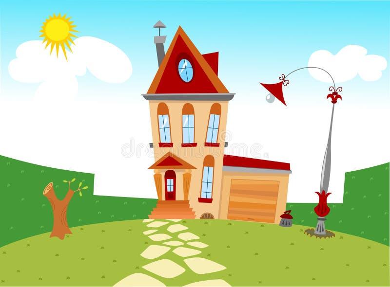 Μικροσκοπικό σπίτι κινούμενων σχεδίων ελεύθερη απεικόνιση δικαιώματος