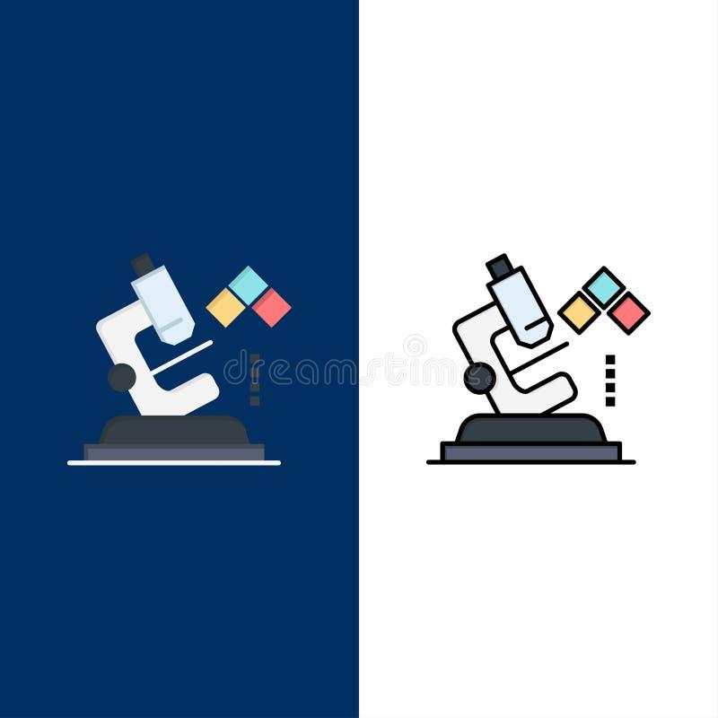 Μικροσκόπιο, επιστήμη, εργαστήριο, ιατρικά εικονίδια Επίπεδος και γραμμή γέμισε το καθορισμένο διανυσματικό μπλε υπόβαθρο εικονιδ διανυσματική απεικόνιση