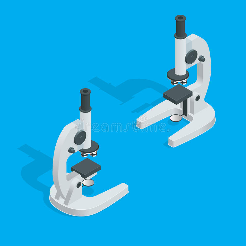 Μικροσκόπιο στο λευκό Εργαστήριο επιστήμης, χημεία εργαστηρίων, έρευνα επιστημονικά, μικροσκόπιο και πείραμα διανυσματική απεικόνιση