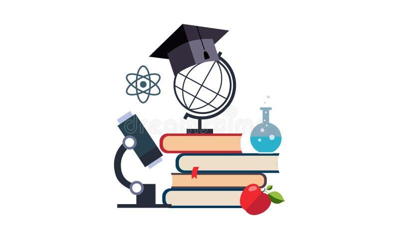 Μικροσκόπιο, σφαίρα και βαθμολόγηση ΚΑΠ σε έναν σωρό των βιβλίων, της εκπαίδευσης και της διανυσματικής απεικόνισης επιστήμης ελεύθερη απεικόνιση δικαιώματος