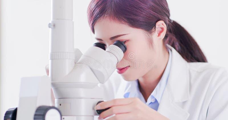 Μικροσκόπιο χρήσης επιστημόνων γυναικών στοκ εικόνες