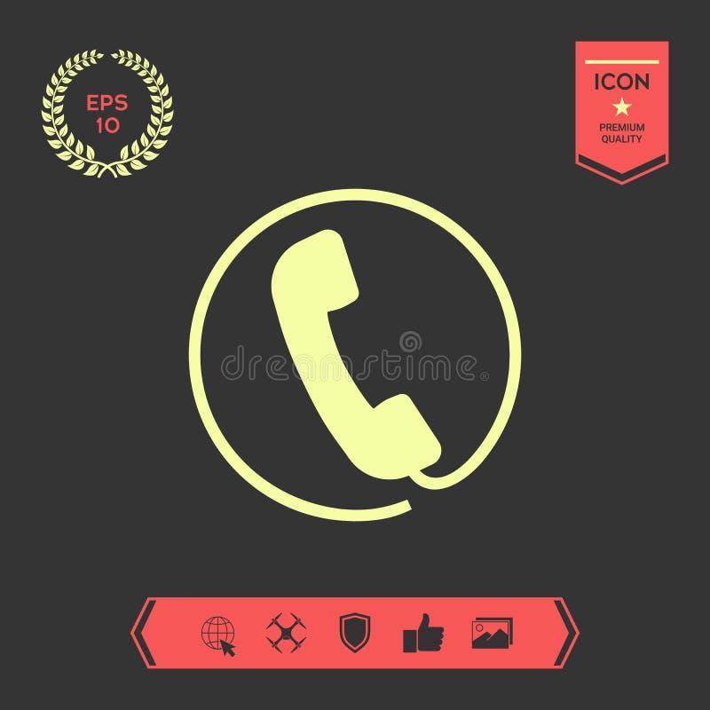 Μικροτηλέφωνο που περιβάλλεται τηλεφωνικό από ένα τηλεφωνικό σκοινί - εικονίδιο διανυσματική απεικόνιση