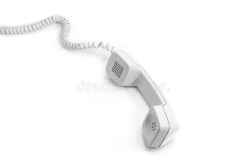 Μικροτηλέφωνο του σύγχρονου τηλεφώνου γραμμών εδάφους σε ένα άσπρο υπόβαθρο στοκ εικόνες