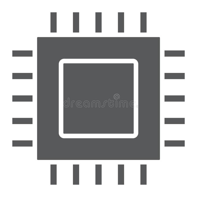 Μικροτσίπ, εικονίδιο πυρήνων glyph, ηλεκτρονικός και ψηφιακός απεικόνιση αποθεμάτων