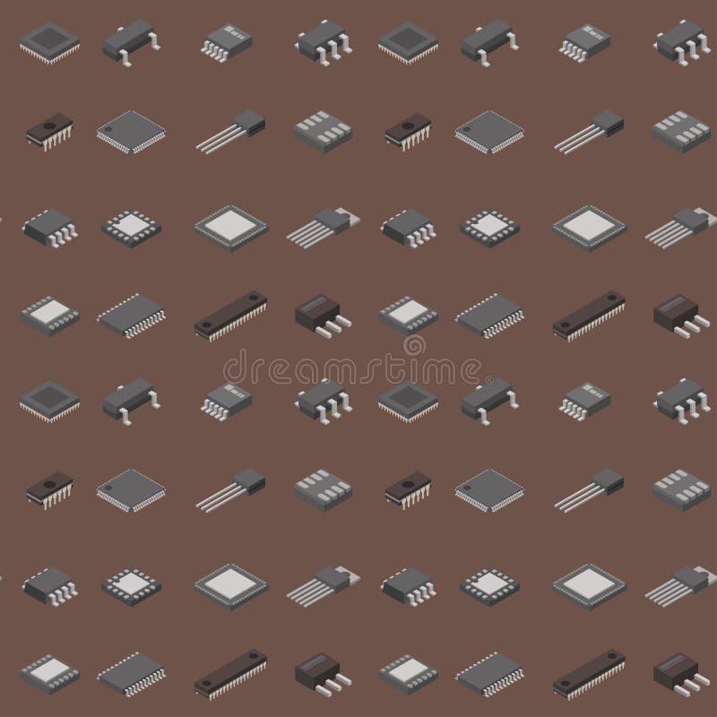 Μικροτσίπ υπολογιστών διανυσματικό isometric τσιπ τεχνολογίας επεξεργαστών σύστημα πληροφοριών μητρικών καρτών πινάκων κυκλωμάτων διανυσματική απεικόνιση