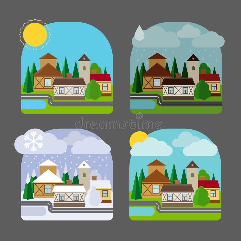 Μικρού χωριού τοπίο στο επίπεδο ύφος ελεύθερη απεικόνιση δικαιώματος