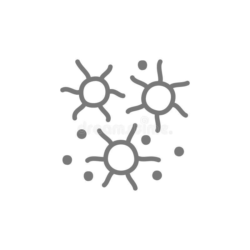 Μικρόβια, βακτηρίδια, εικονίδιο γραμμών ιών απεικόνιση αποθεμάτων