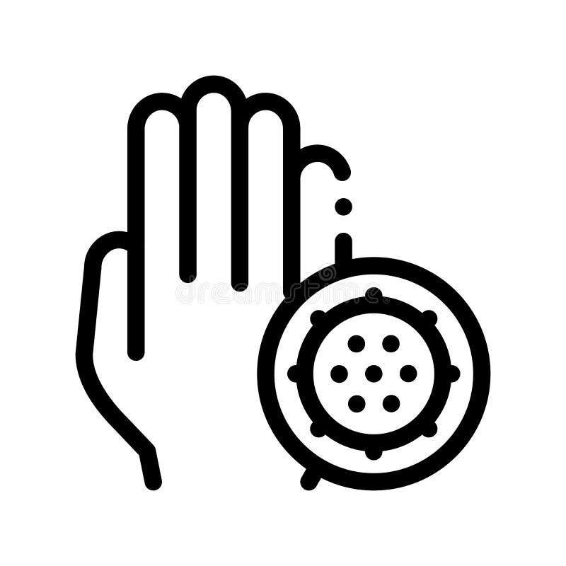 Μικρόβιο βακτηριδίων και διανυσματικό εικονίδιο γραμμών σημαδιών χεριών λεπτό διανυσματική απεικόνιση