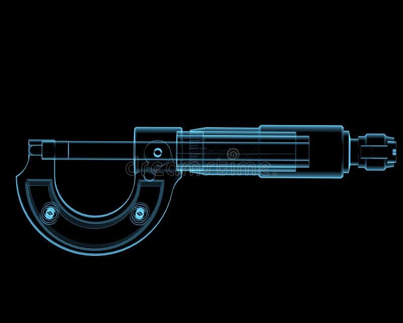 Μικρόμετρο (τρισδιάστατος των ακτίνων X μπλε διαφανής) ελεύθερη απεικόνιση δικαιώματος