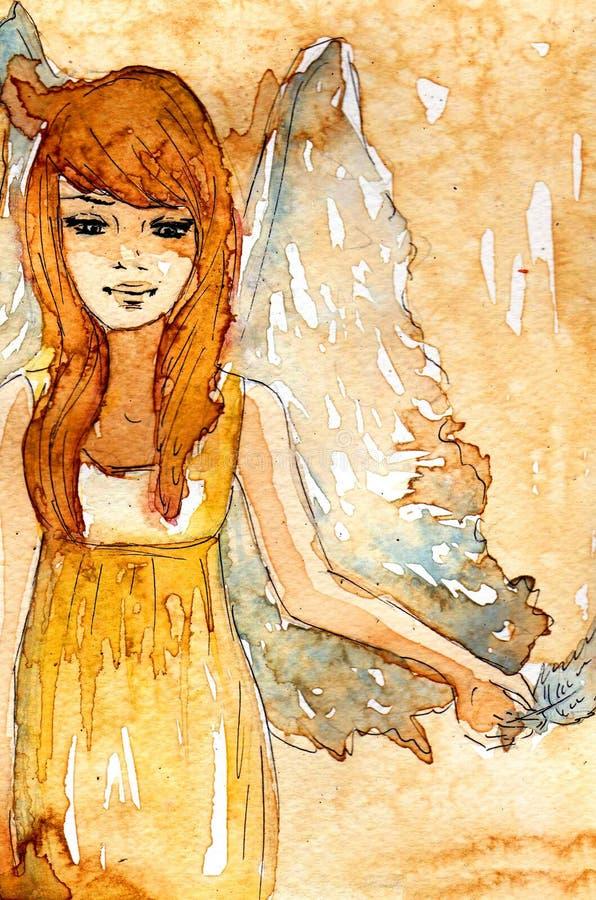 Μικρός άγγελος watercolor ελεύθερη απεικόνιση δικαιώματος