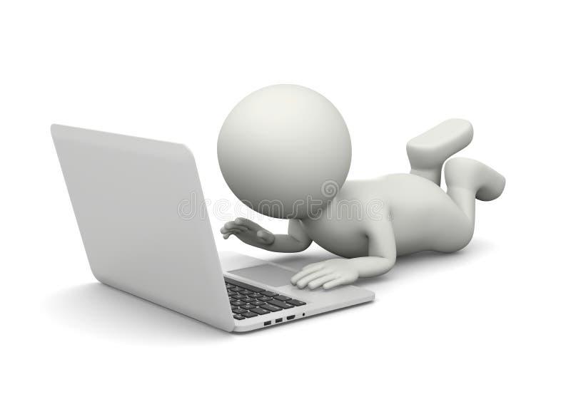 Μικρός λευκός τρισδιάστατος χαρακτήρας που χρησιμοποιεί έναν φορητό προσωπικό υπολογιστή διανυσματική απεικόνιση