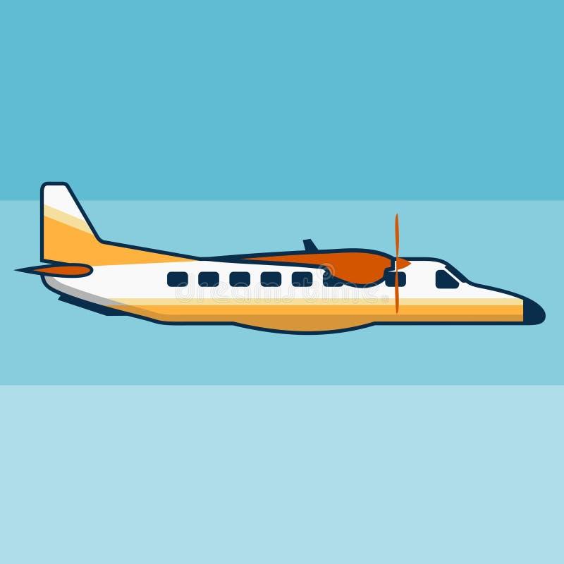 Μικρός - μεγέθους επίπεδη διανυσματική απεικόνιση αεροπλάνων επιβατών ελεύθερη απεικόνιση δικαιώματος